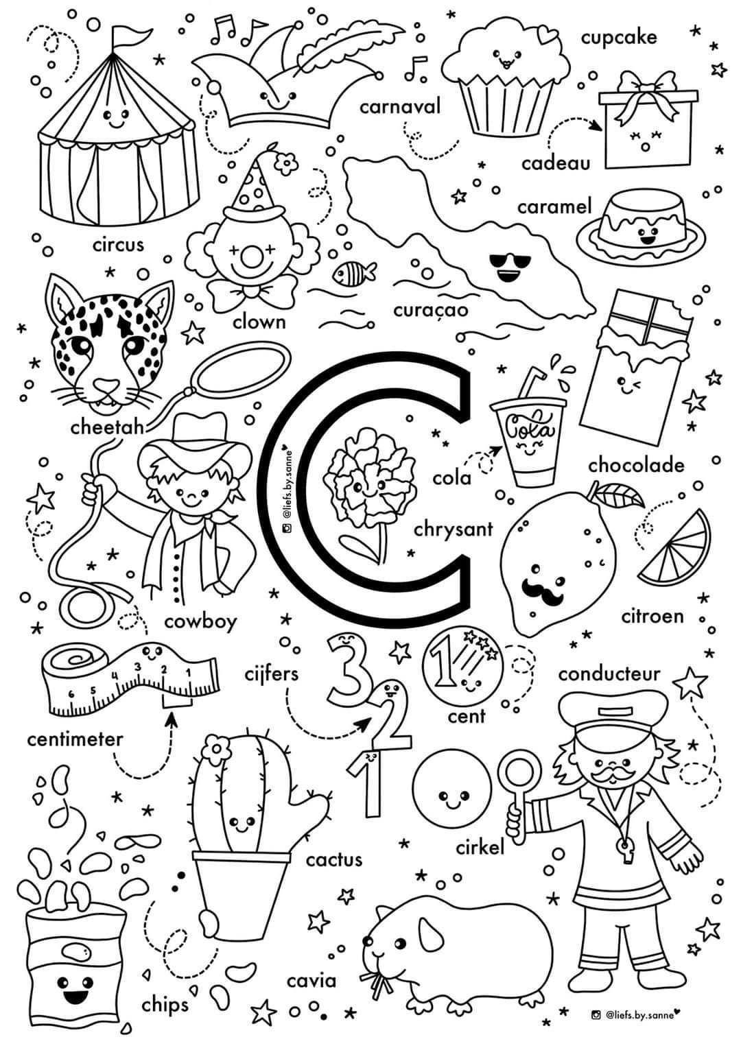 C Woorden Kleurplaat Alfabet Kleurplaten Letterherkenning Spelletjes Alfabet Boek