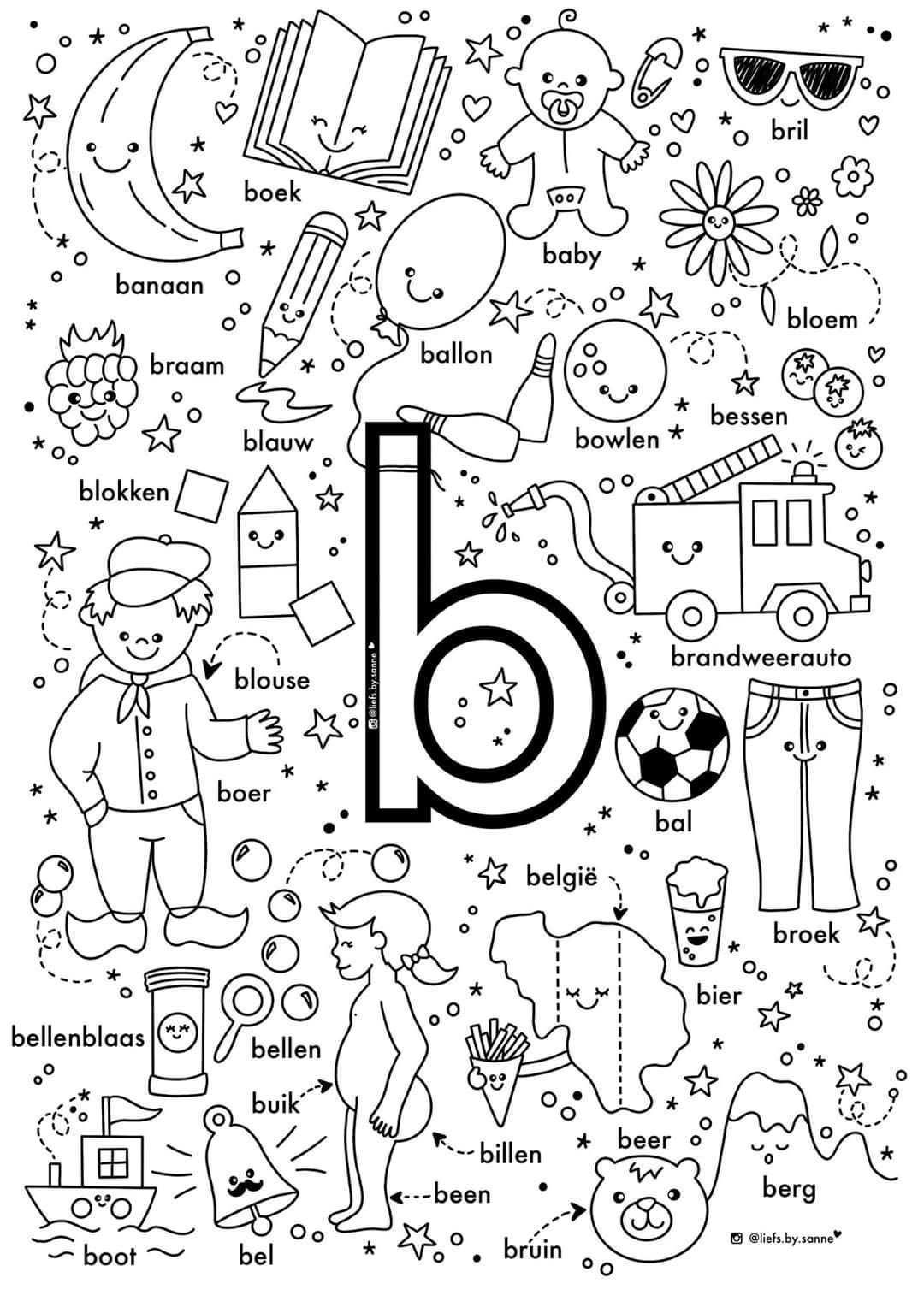 B Woorden Kleurplaat In 2020 Letterherkenning Spelletjes Letterherkenning Geletterdheid