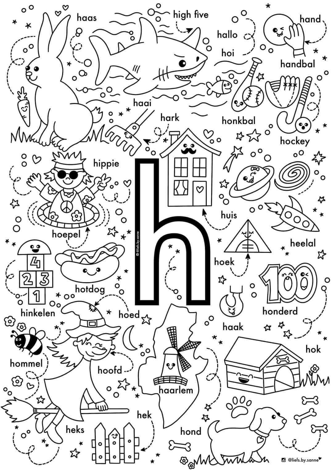 H Woorden Kleurplaat Letterherkenning Letterherkenning Spelletjes Alfabet Boek
