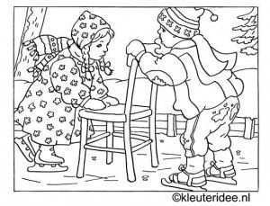 Kleurplaat Kinderen Schaatsen In De Winter Kleuteridee Nl Kleurplaten Winter Knutselen Thema