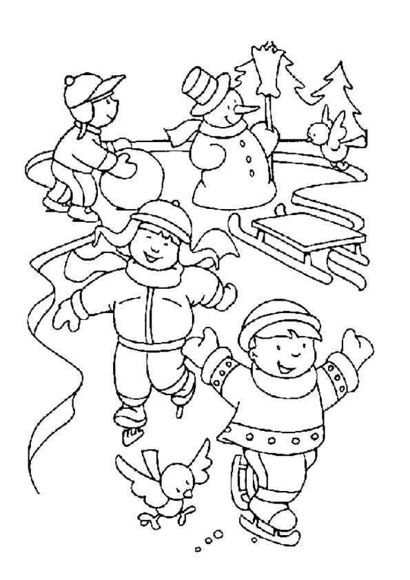 Schaatsen In De Winter Kerstkleurplaten Dieren Kleurplaten Kleurboek