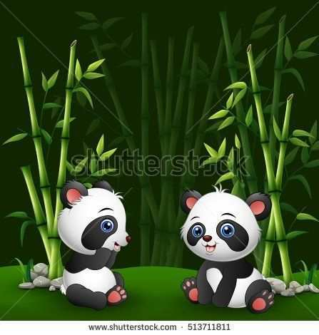 Vector Illustration Of Cartoon Baby Panda In The Jungle Bamboo Panda Art Panda Painting Jungle Cartoon