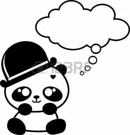Schattige Kleine Panda Met Hoed Schattige Tekeningen Schattig Panda Tekening