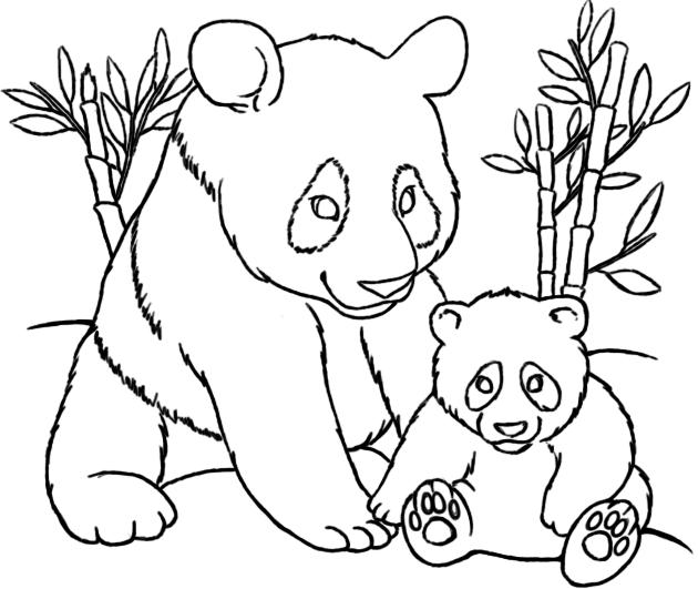 Mom And Baby Panda Coloring Pages Panda Coloring Pages Bear Coloring Pages Horse Coloring Pages