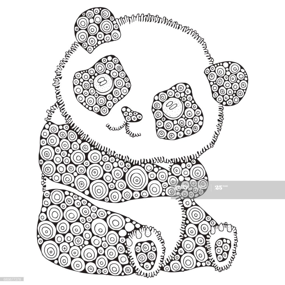Stockillustraties Schattige Panda Volwassen Antistress Kleurplaat Fotoboekpagina Zwart Wit Hand Ge Antistress Coloring Panda Coloring Pages Coloring Books