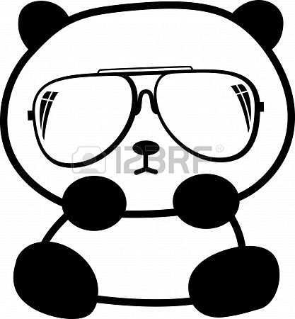 Schattige Kleine Panda Met Een Zonnebril Schattige Tekeningen Panda Tekening Schattig