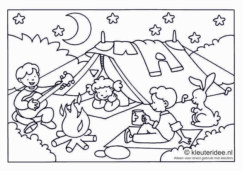Camping Thema Zomer Kleurplaten Campingthema