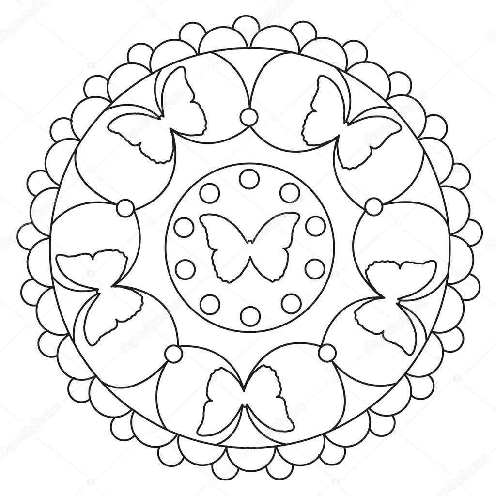 Simpele Vlinder Mandala Kleurplaten Stockvector Ingasmk Mandala Kleurplaten Kleurplaten Verjaardagskaart Vriendje