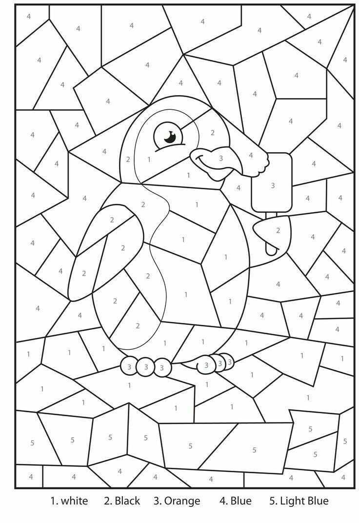 Cijferkleurplaat Kleuren Met Nummers Winterknutsels Schoolactiviteiten