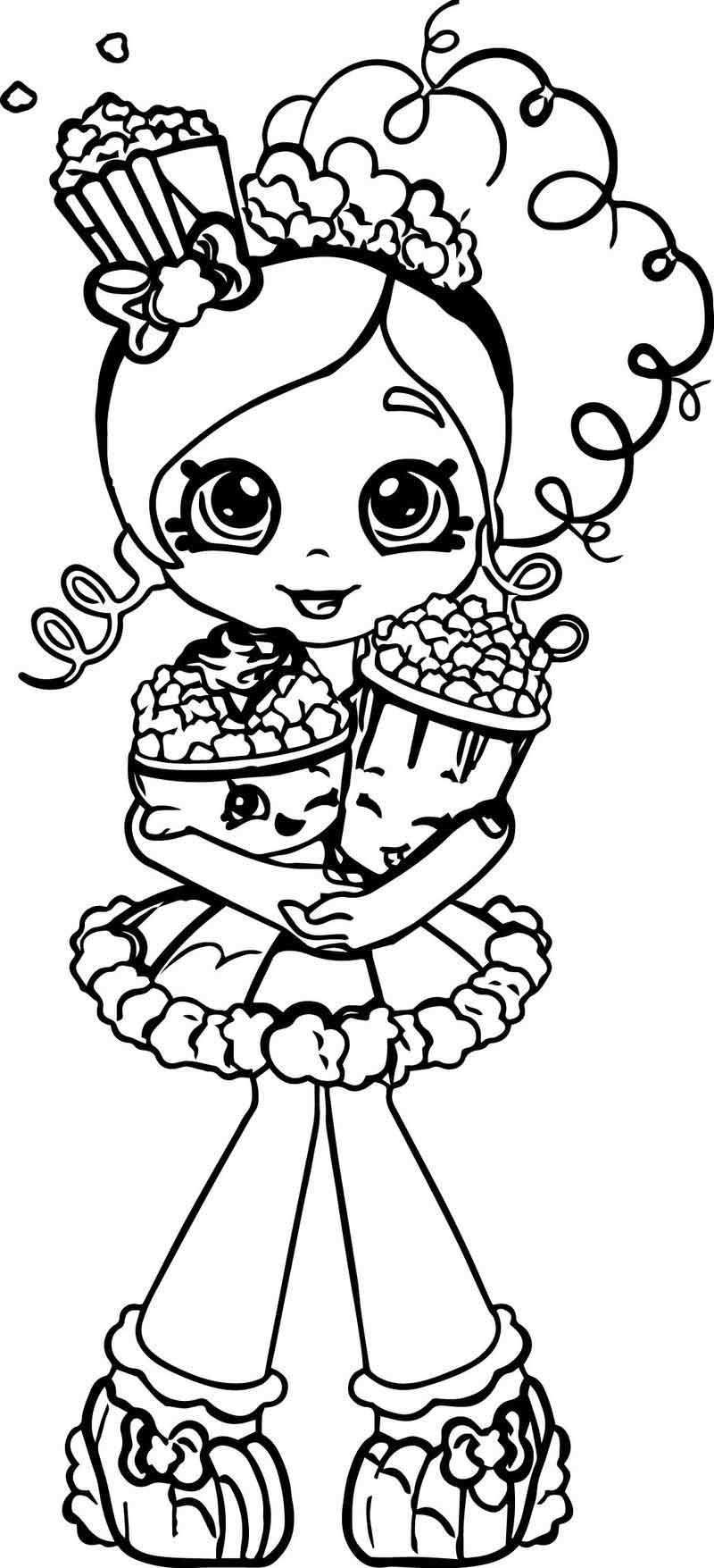 Popcorn Shopkins Girl Coloring Page Shopkins Colouring Pages Shopkin Coloring Pages Cartoon Coloring Pages