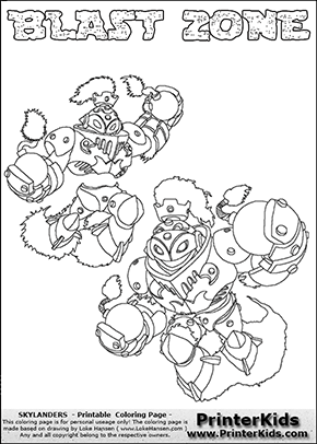 Printable Or Online Colorable Skylanders Swap Force Coloring Page With Two Colorable Variants Of The Original Swappable Character Blast Zone Print An Skylanders
