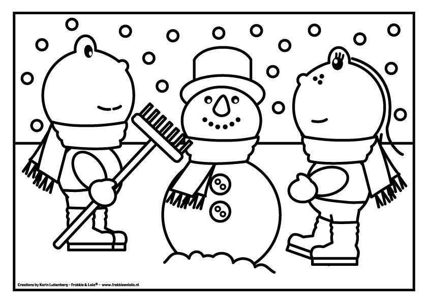 Frokkie Lola Kleurplaten Kleurplaten Sneeuwpop Thema