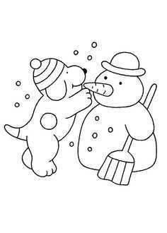 Kleurplaat Winter Dribbel Maakt Sneeuwpop Kerstkleurplaten Sneeuwpop Winter Knutselen