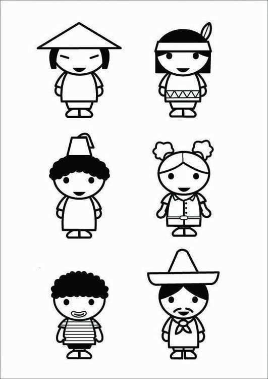 Kleurplaat Kinderen Culturen Afb 26424 Kinderen Knutselen Thema Beroepen Kleurplaten