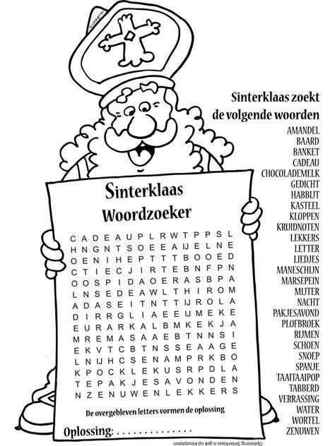 Kleurplaat Sinterklaas Woordzoeker Nr 10412 Kleurplaten Nl Sinterklaas Knutselen Sinterklaas Diy Sinterklaas