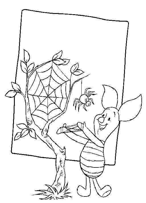 Kleurplaat Winnie De Pooh En Knorretje Knorretje Met Spin Dibujos Para Colorear Dibujos Colores