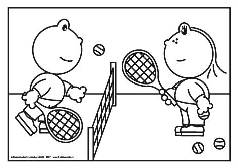 Frokkie En Lola Kleurplaat Tennissen Sport Kleurplaten Thema