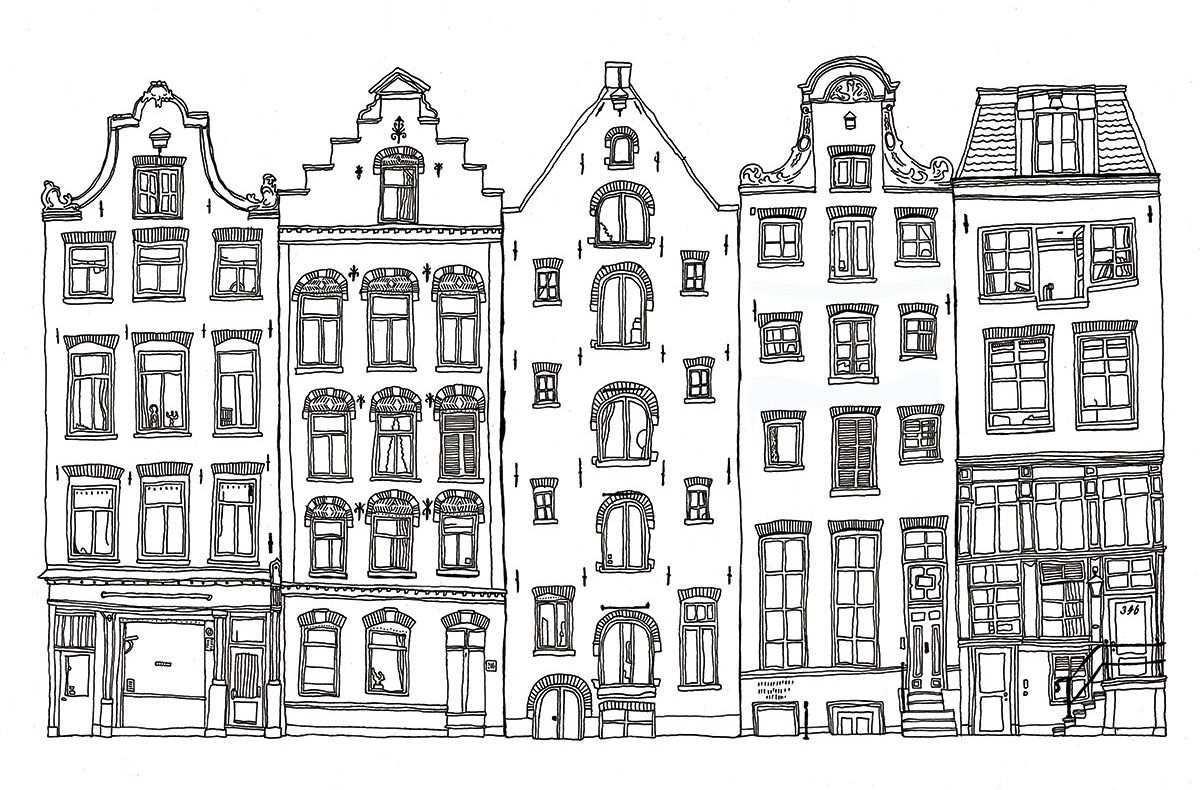 Amsterdamse Grachtenpanden Google Zoeken Stad Tekening Tekening Architectuur Stad Ill