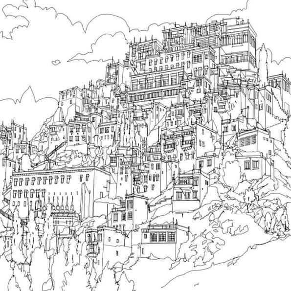Print Ladakh Kleurplaat Fantastic Cities Coloring Book Coloring Books Black And White