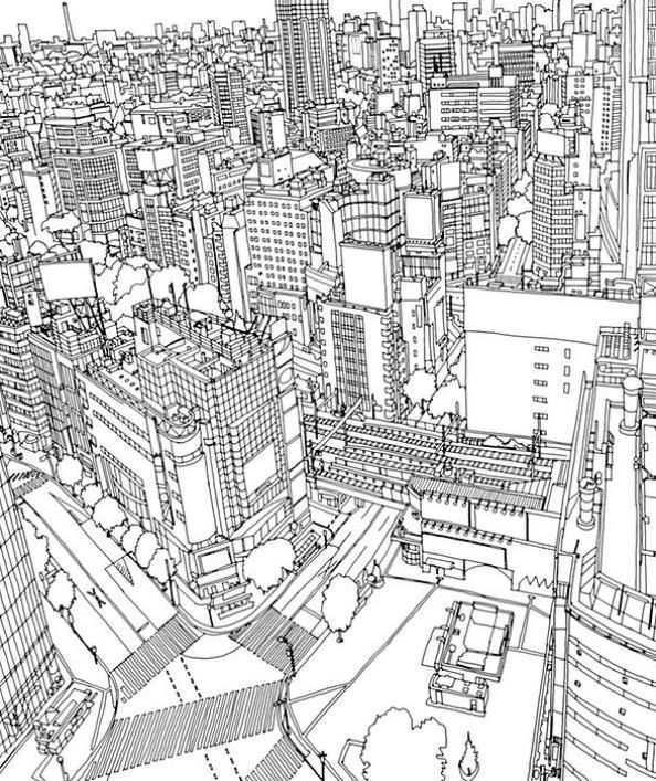 Print Tokyo Kleurplaat Kleurplaten Kleurboek Kleurplaten Voor Volwassenen