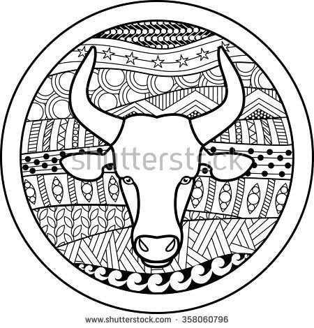 Zodiac Sign Taurus Vector Illustration Of Abstract Zodiac Sign For Talismans Textile Prints Tattoo Dierenriem Stier Dieren Kleurplaten