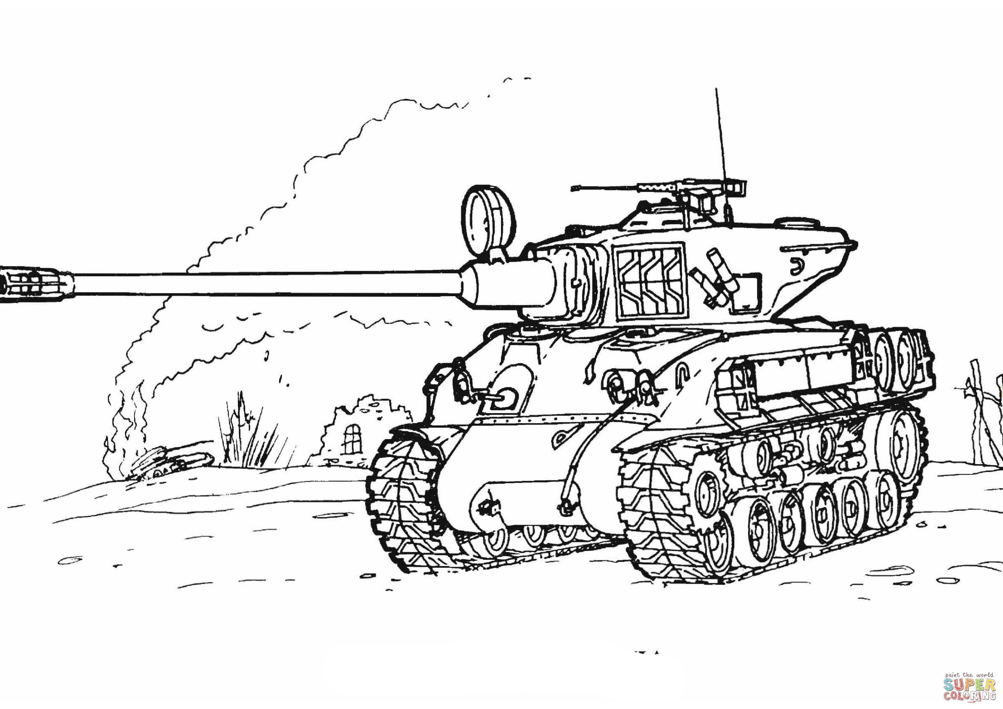 Sherman M 51 Tank Coloring Page From Tanks Category Select From 27260 Printable Crafts Of Cartoons Nature Animals B Tank Drawing Coloring Pages Tank Tattoo