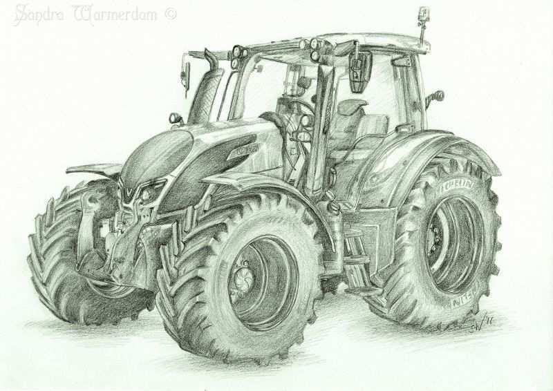 Valtra N174 Tractor Inspired Pencil Drawing Zeichnung Ideen Bleistift Zeichenvorlagen Skizze Malerei