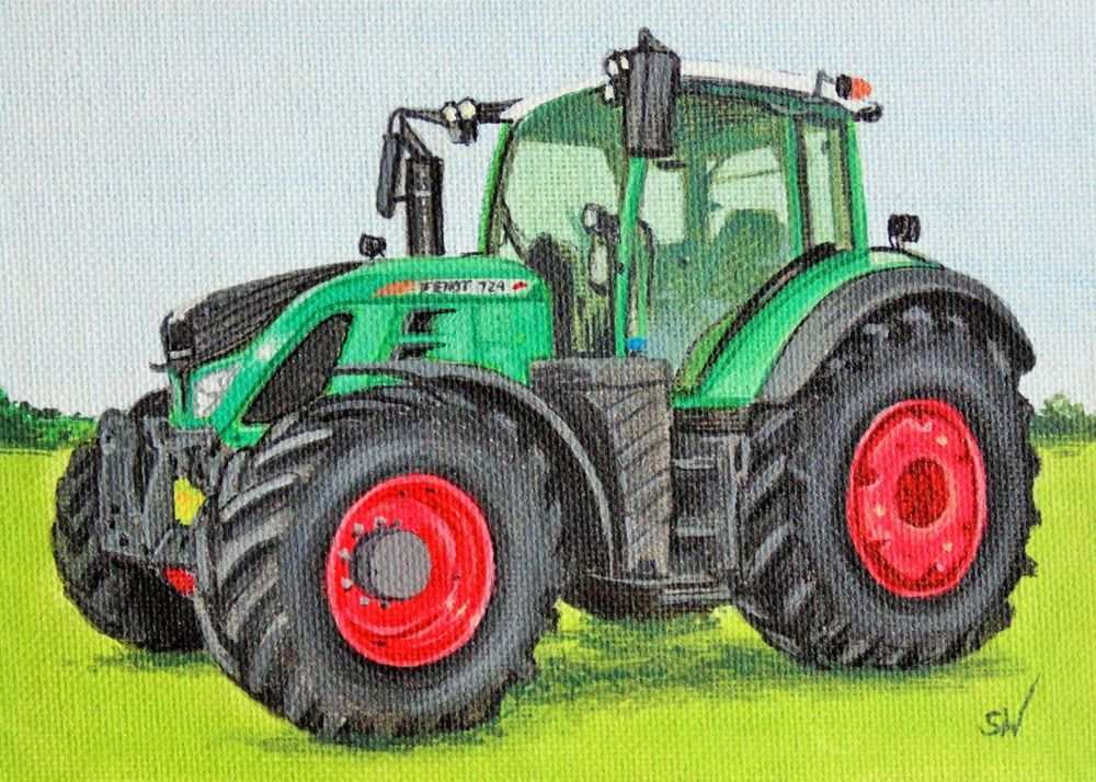 Fendt Tractor Mini Painting Acrylic On Canvas Board Realism Tractors Mini Paintings Tractors Painting