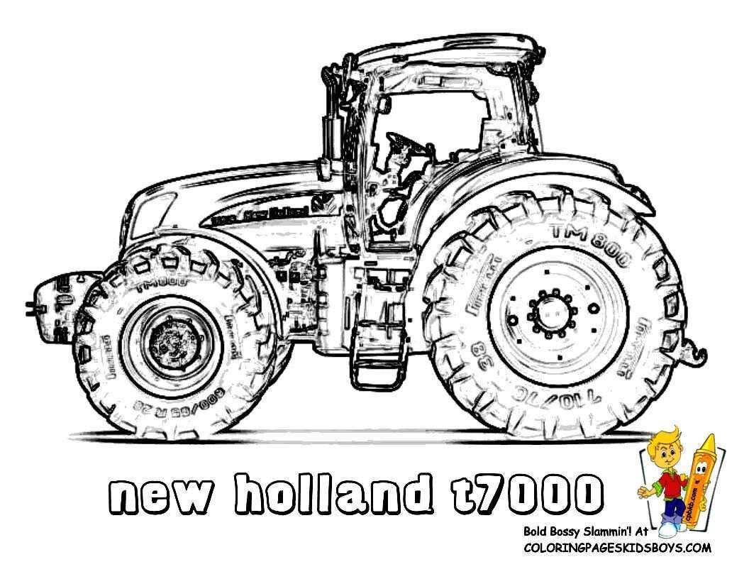 Print Out This New Holland T7000 Tractor Coloring Page Slide Crayon Tell Other Coloring Kids Yo Tractor Coloring Pages Coloring Pages Vintage Coloring Books