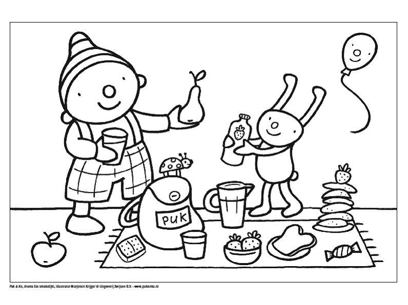 Uk En Puk Picknick Kleurplaat Knutselen Thema Eten Picknick Thema Thema