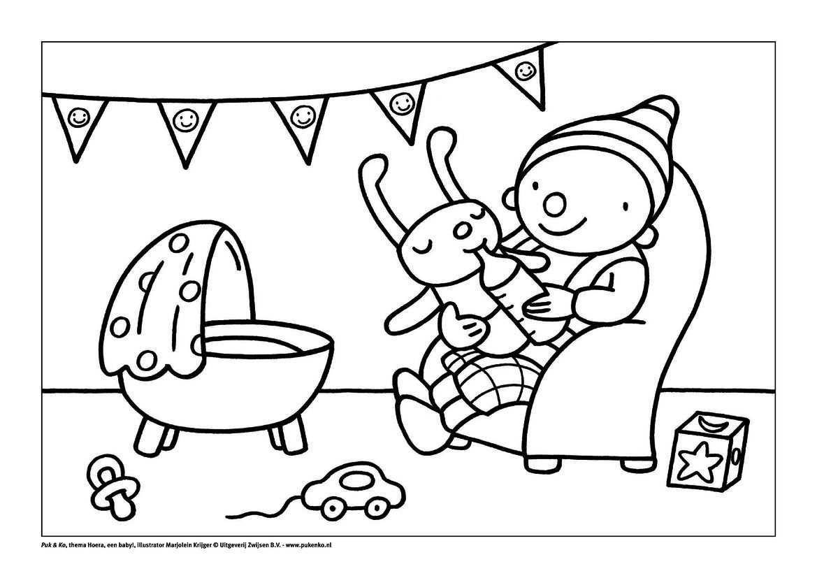 Kleurplaat Puk Met Baby Knutselen Thema Baby Kleurplaten Peuter Thema