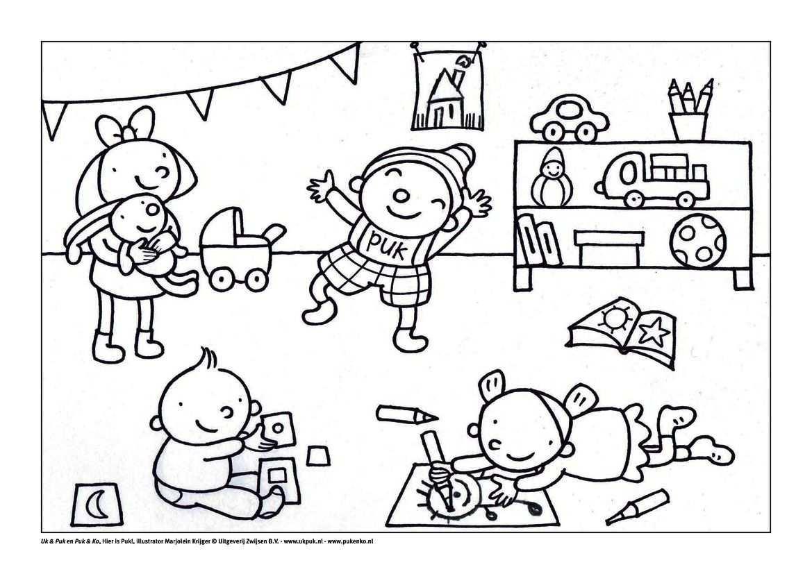 Kleurplaat Puk In De Groep Kind Tekening Thema Kleurplaten