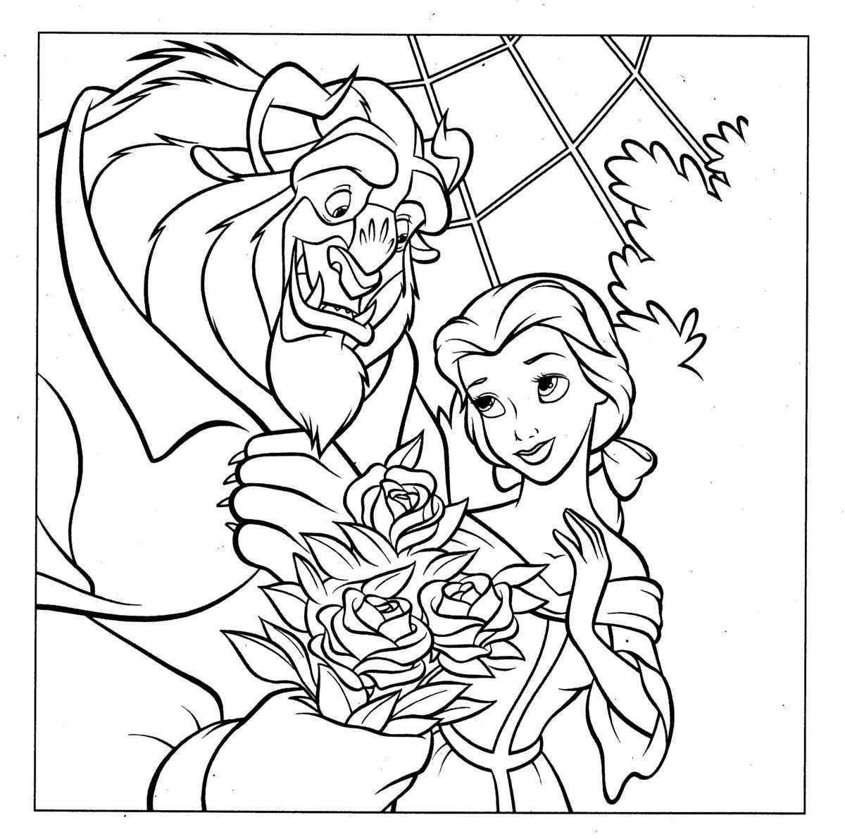Kleurplaat Beauty And The Beast 8101 Disney Kleurplaten Kleurplaten Belle En Het Beest