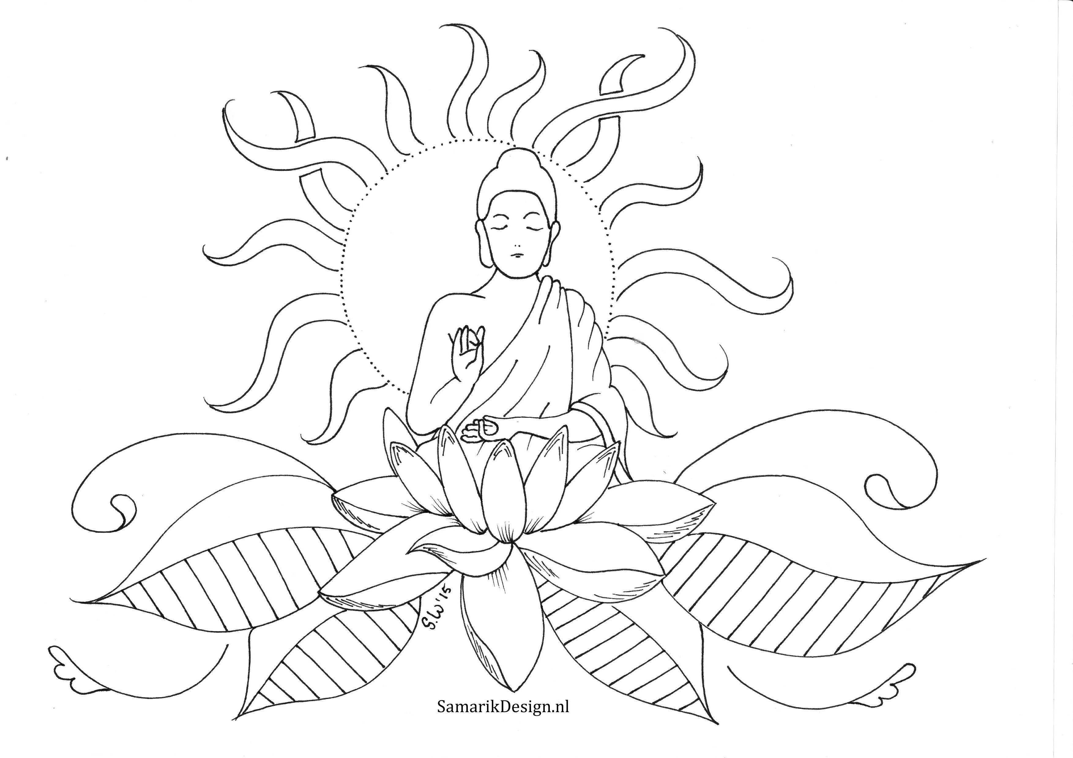 Kleurplaat Voor Volwassenen Lotus Lijntekeningen Kleurplaten Boeddha
