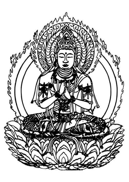 Coloring Page Buddha Img 27309 Boeddhistische Kunst Gratis Kleurplaten Kleurplaten