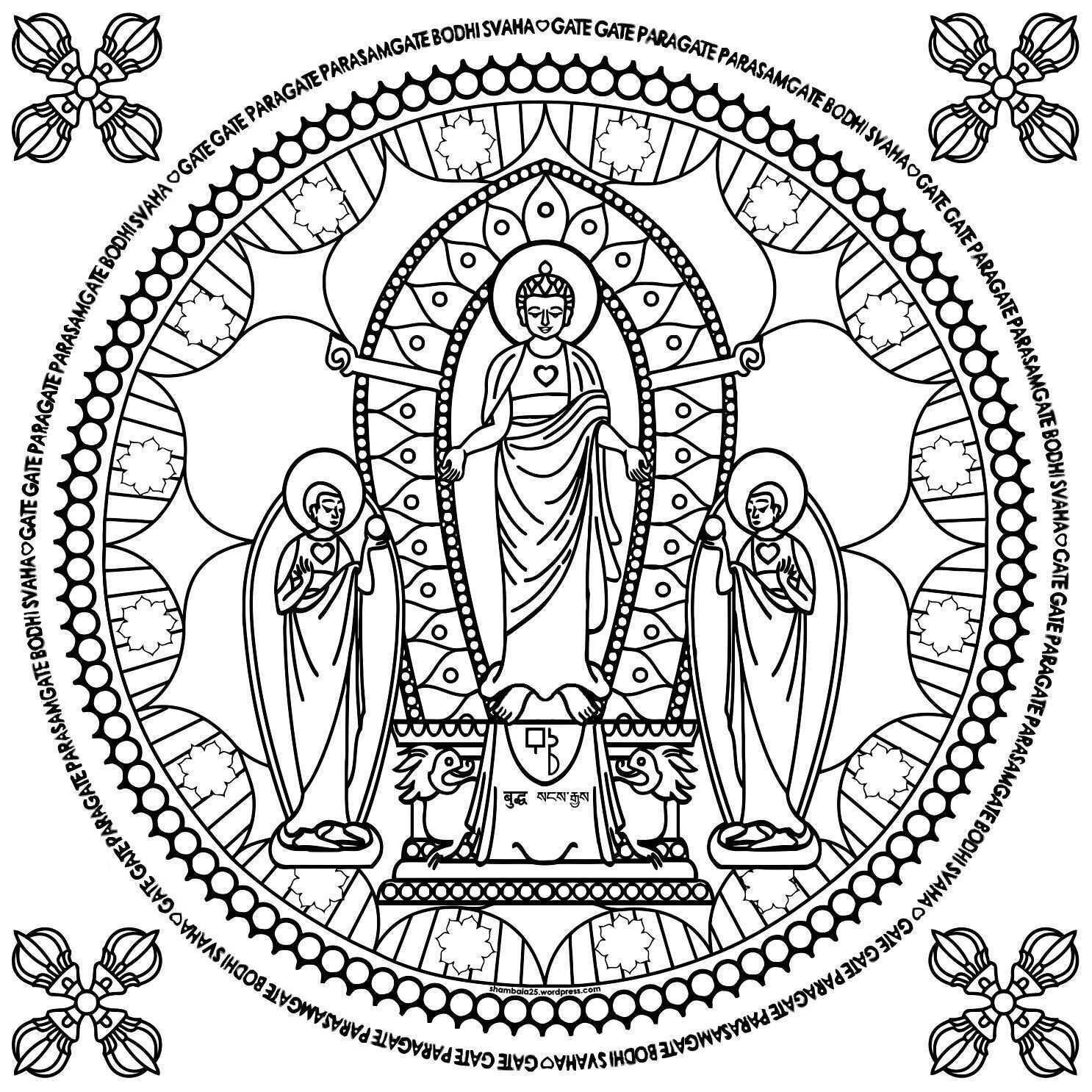 Boeddha Kleurplaat Mandala Coloring Mandala Coloring Pages