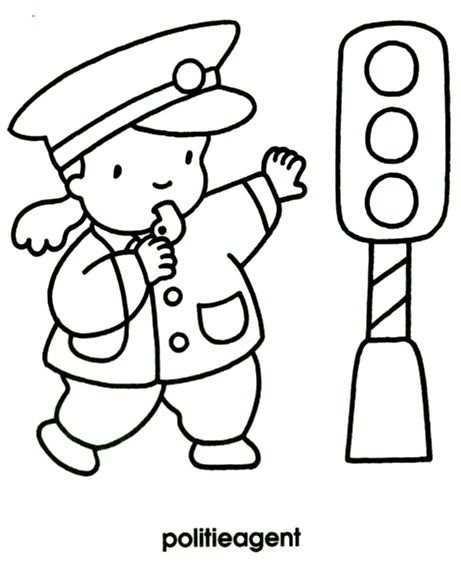 Kleurplaat Politieagent Thema Activiteiten Politie Agenten