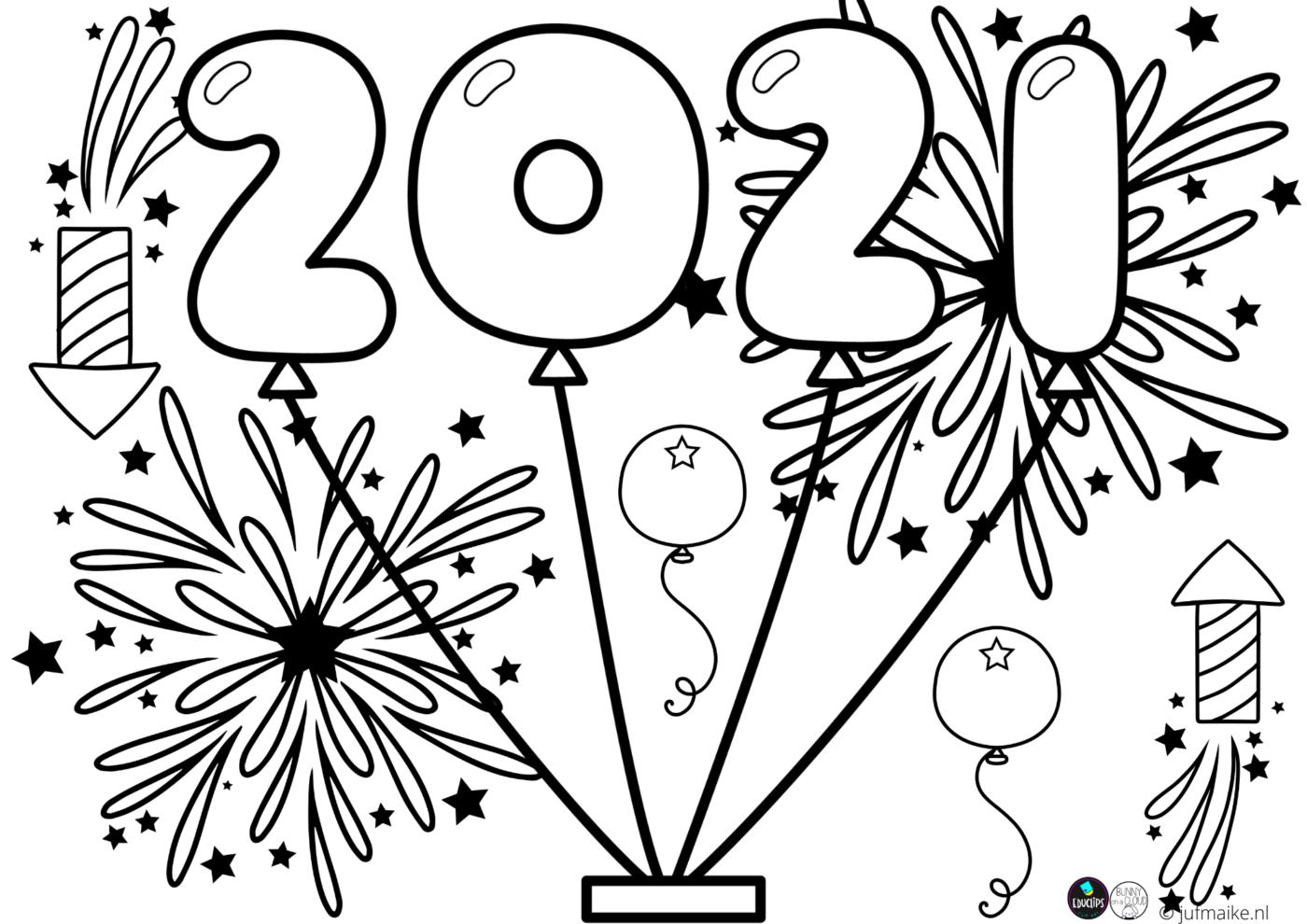 Kleurplaat 2021 Juf Maike Vuurwerk Knutselen Gelukkig Nieuwjaar Kleurplaten