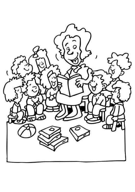 Kleurplaat Juf Vertelt Kinderen Leren Terwijl Ze Kleuren Afbeeldingen Voor Scholen En Onderwijs Afb 6511 Gratis Kleurplaten Kleurplaten Dieren Kleurplaten