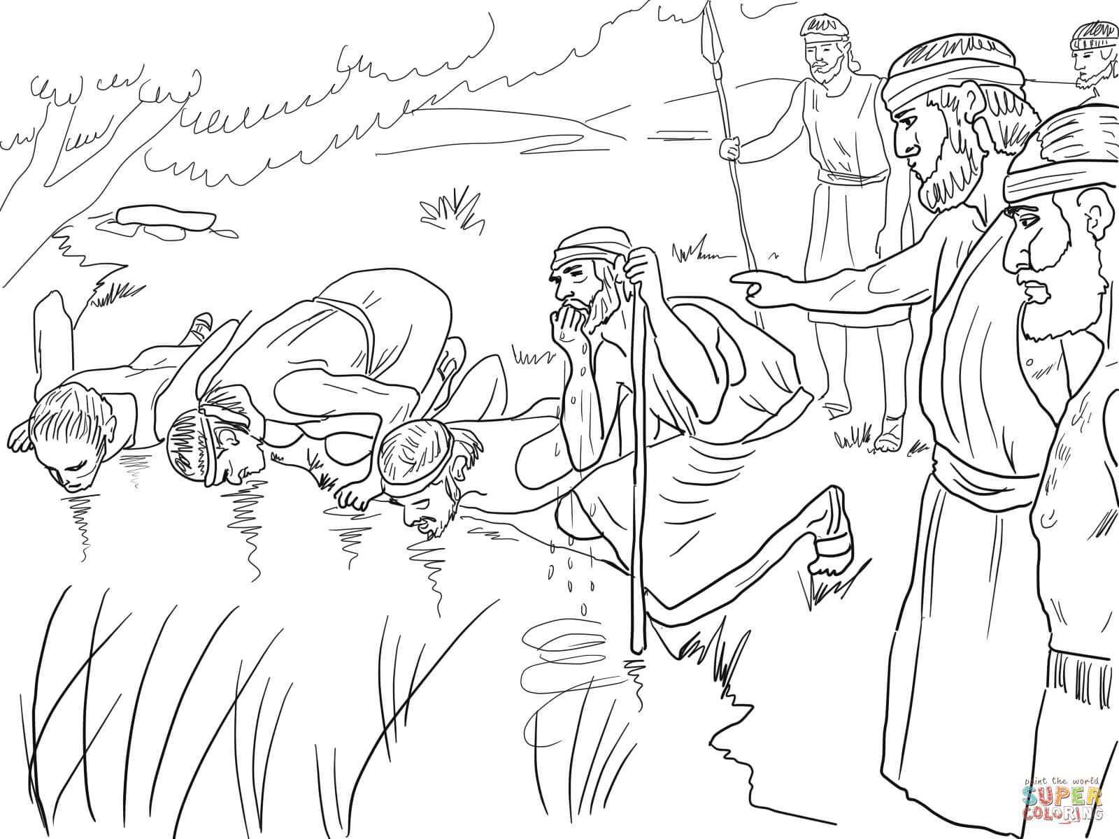 Gideon Selects His Army Of 300 Men Coloring Page From Judge Gideon Category Select From 29188 Sunday School Coloring Pages Bible Coloring Pages Coloring Pages