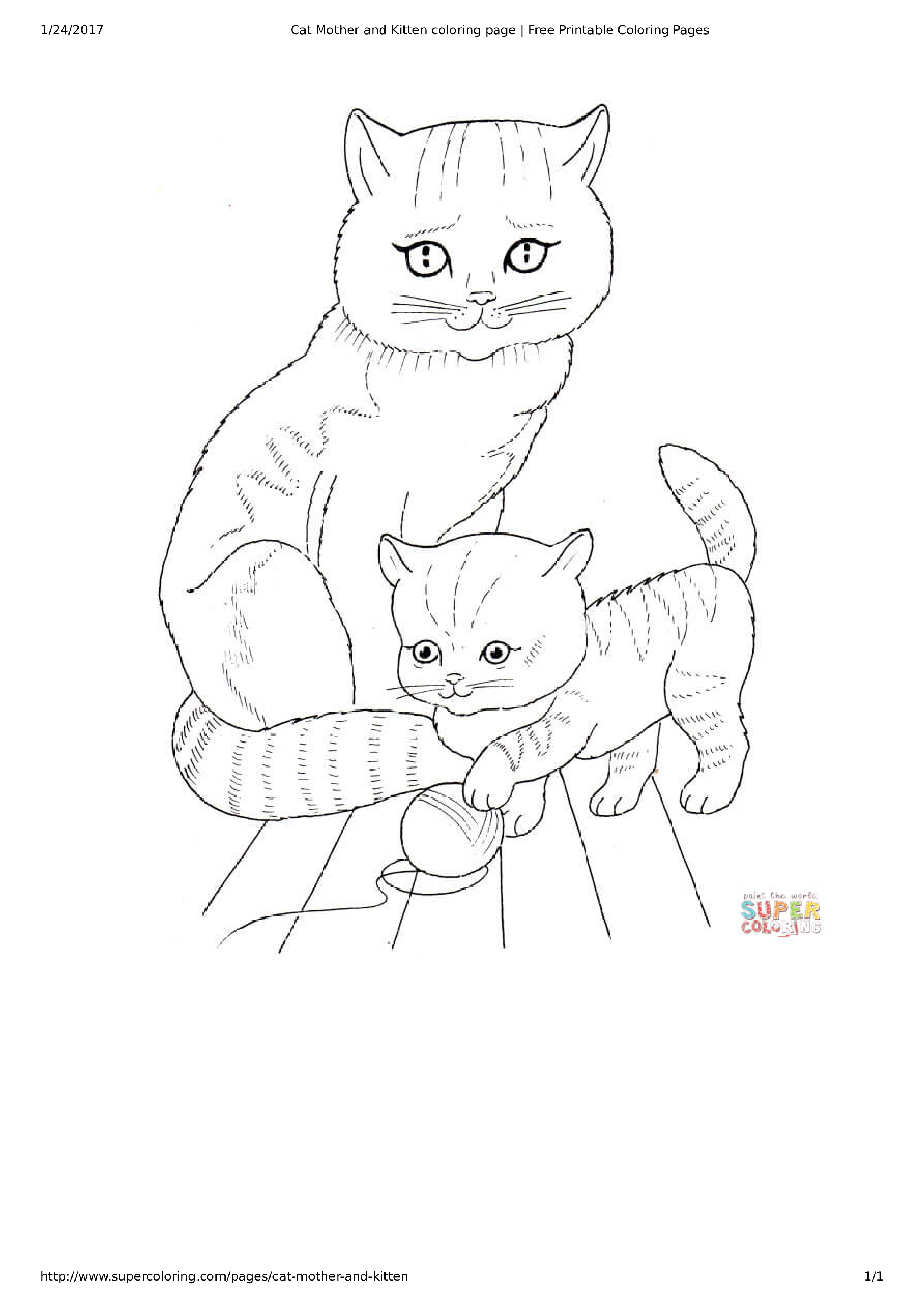 Cat And Kitten Coloring Page How To Create A Cat And Kitten Coloring Page Download This Cat And Kitt Puppy Coloring Pages Cat Coloring Page Kittens Coloring