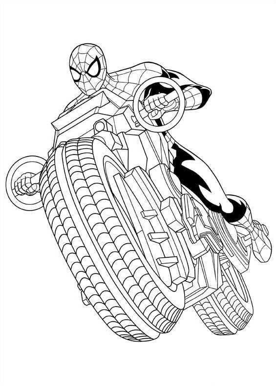 Kleurplaat Van Spider Man Motor Kleurplaten Ultimate Spider Man Abstracte Kleurplaten