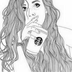 Afbeeldingsresultaat Voor Tekeningen Meisje Met Starbucks Meiden Tekeningen Meisjestekening Tekenen