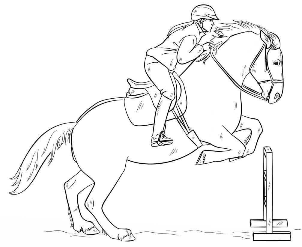 Jumping Horse With Rider Coloring Page Horse Coloring Pages Horse Drawing Tutorial Horse Coloring