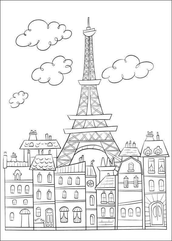 Kleurplaat Ratatouille Parijs En De Eiffeltoren Parijs Tekening Kleurplaten Eiffeltoren