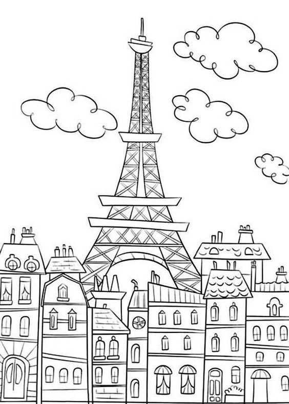 Eiffeltoren Kleurplaten Adult Coloring Pages Parijs Tekening