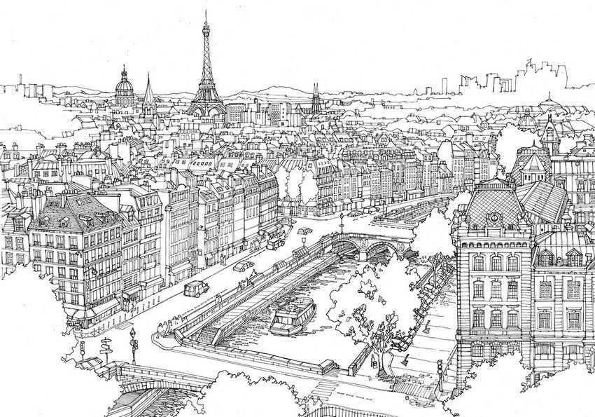 Pin Van Nova Sarpla Op Coloring Pages For Adults 2 Stad Illustratie Parijs Tekening Parijs Illustratie
