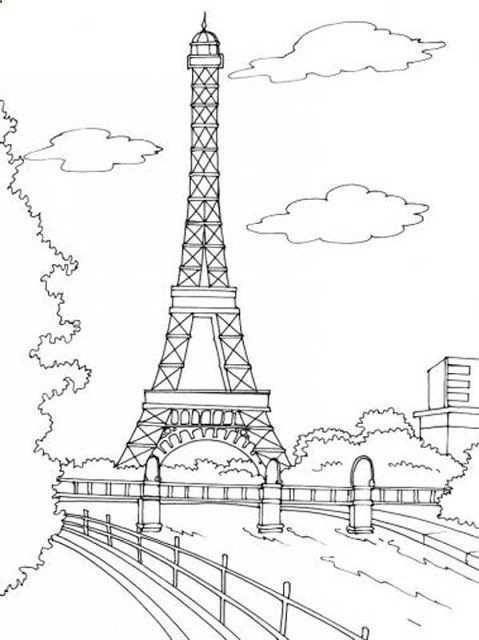 Paris Eiffel Tower Embroidery Pattern Cute For A Throw Pillow Coloring Pages Eiffel Tower Coloring Pictures