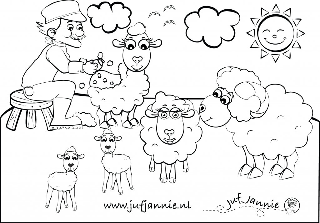 Kleurplaten Kinderboerderij Boer Scheert De Schapen Imagens Escola