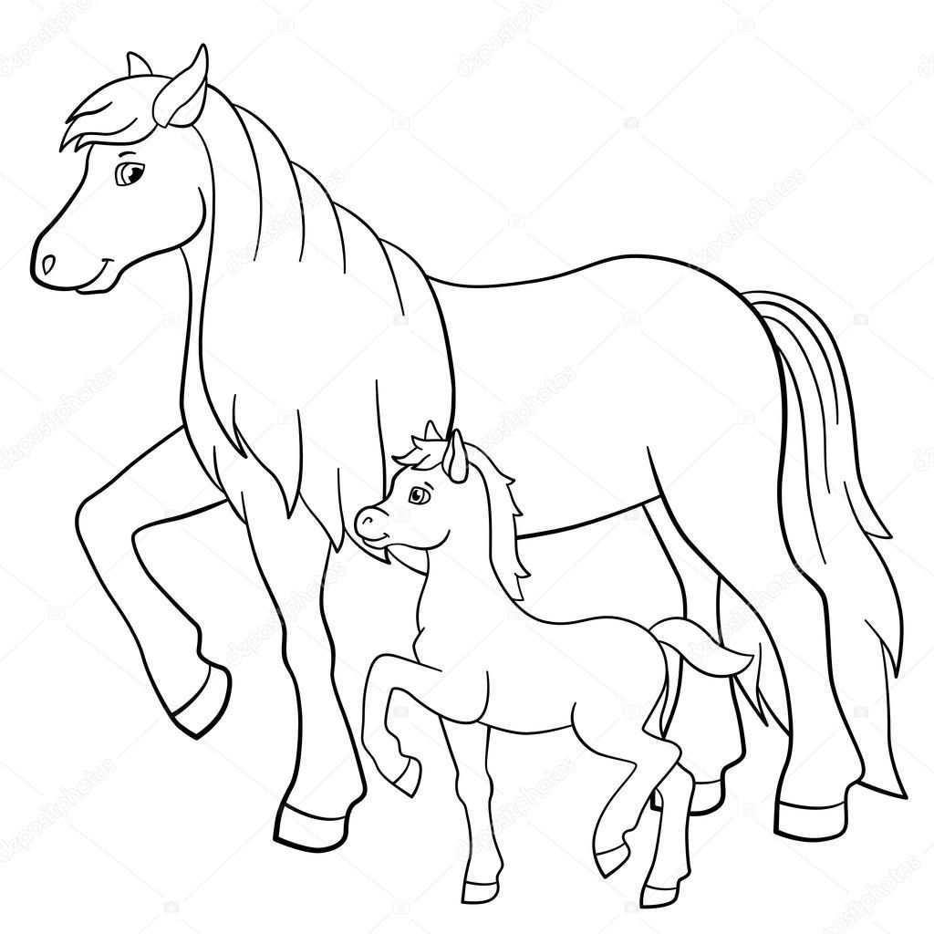 Dibujos Para Colorear Animales De Granja Madre Caballo Camina Con Su Pequeno Potri Caballo Para Colorear Animales Animados Para Colorear Animales Para Pintar